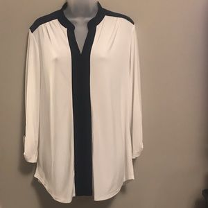 PerSeption Concepts Blouse White w Navy shoulders